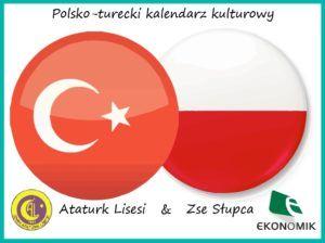 """Grafika przedstawia flagę Turcji i flagę Polski oraz napis: """"Polsko-turecki kalendarz kulturowy""""."""